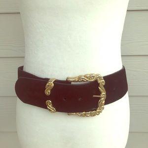 90s vintage leather belt black and gold